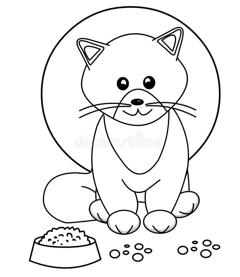 Милая страница расцветки кота бесплатная иллюстрация