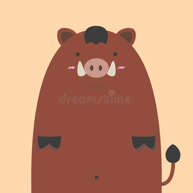 Милая тучная свинья дикого кабана иллюстрация штока