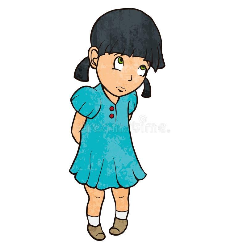 Милая унылая виновная маленькая девочка в голубом платье шарж иллюстрация вектора