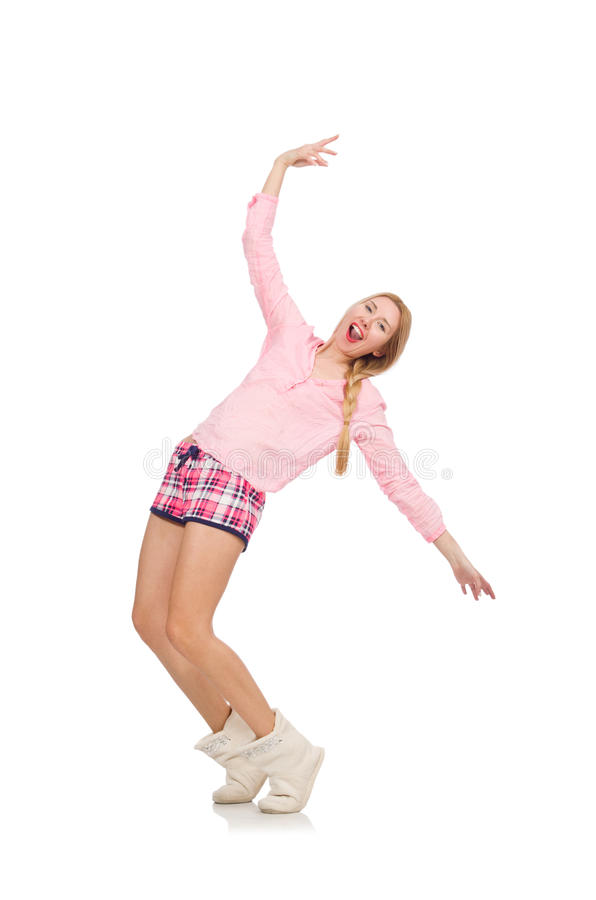 Милая усмехаясь девушка в розовой куртке изолированной на белизне стоковые фото