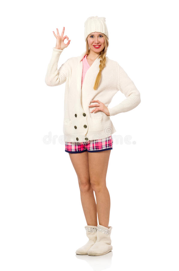 Милая усмехаясь девушка в розовой куртке изолированной на белизне стоковые изображения