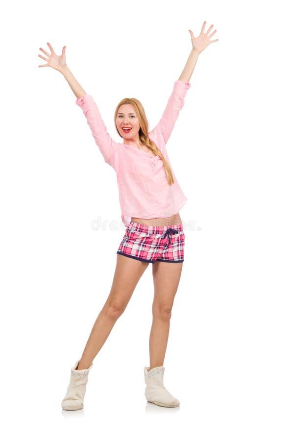 Милая усмехаясь девушка в розовой куртке изолированной на белизне стоковое фото
