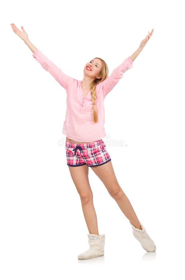 Милая усмехаясь девушка в розовой куртке изолированной на белизне стоковое изображение rf