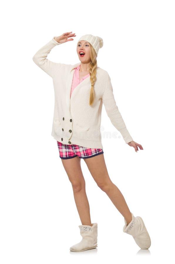 Милая усмехаясь девушка в розовой куртке изолированной на белизне стоковая фотография