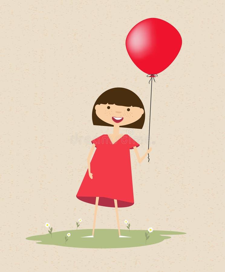 Милая усмехаясь девушка с красным воздушным шаром бесплатная иллюстрация