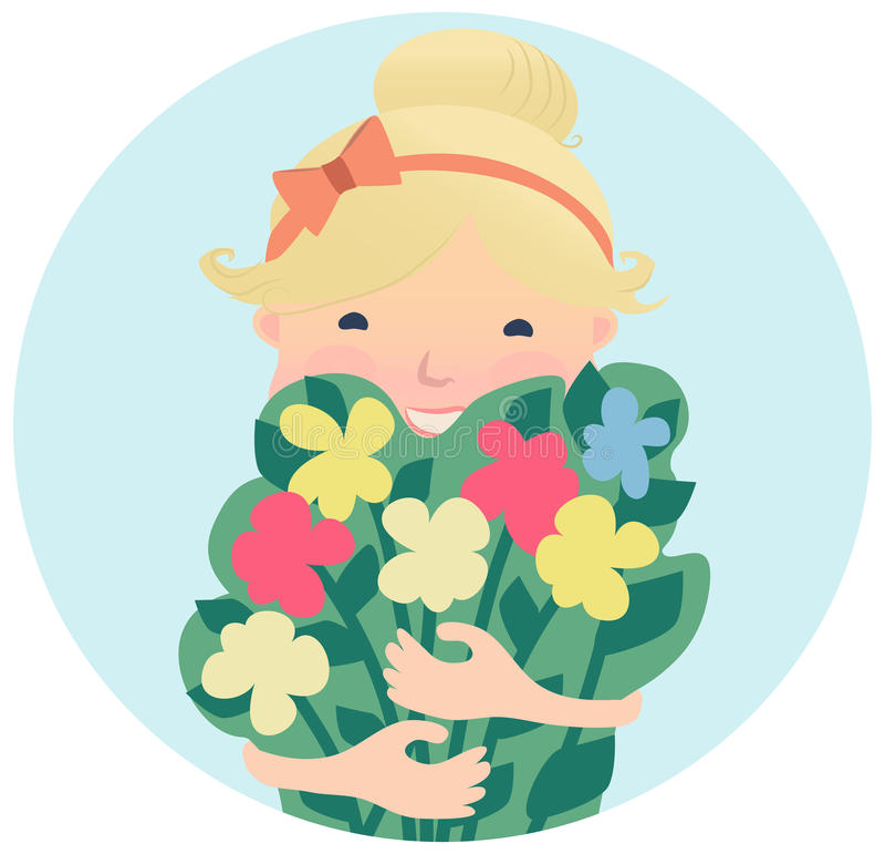 Милая усмехаясь маленькая девочка с букетом цветков иллюстрация вектора