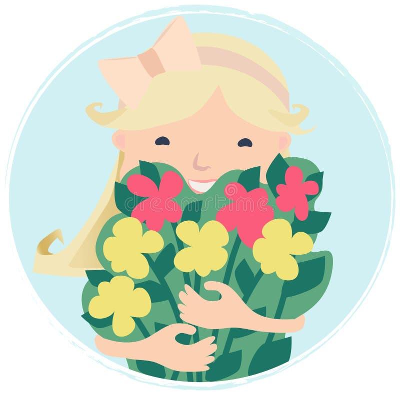 Милая усмехаясь маленькая девочка с букетом цветков иллюстрация штока