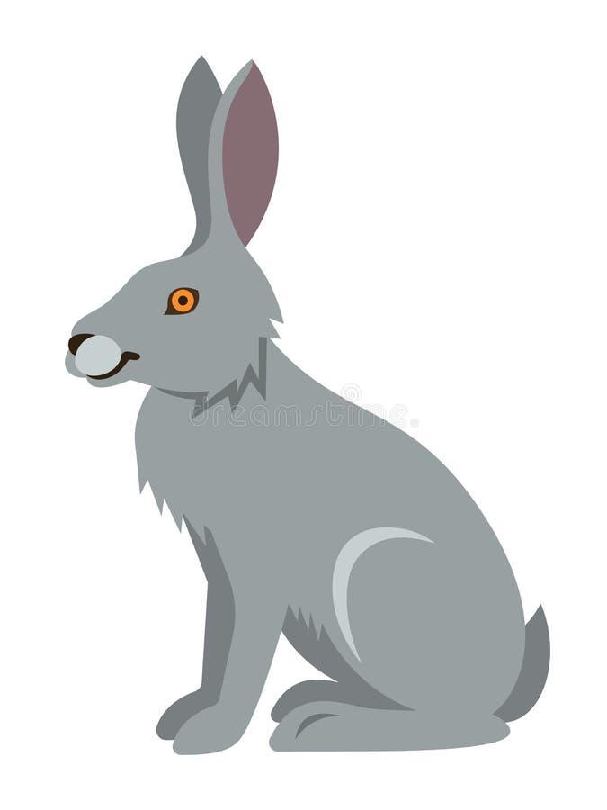 Милая усмехаясь одичалая иллюстрация шаржа зайцев иллюстрация вектора