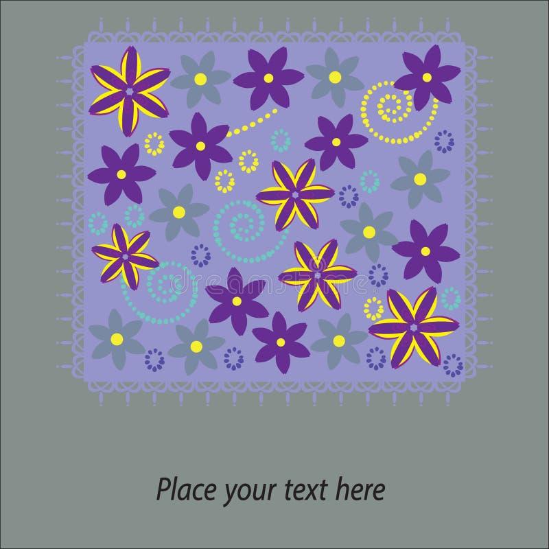 Милая флористическая карточка на фиолетовой предпосылке с космосом бесплатная иллюстрация