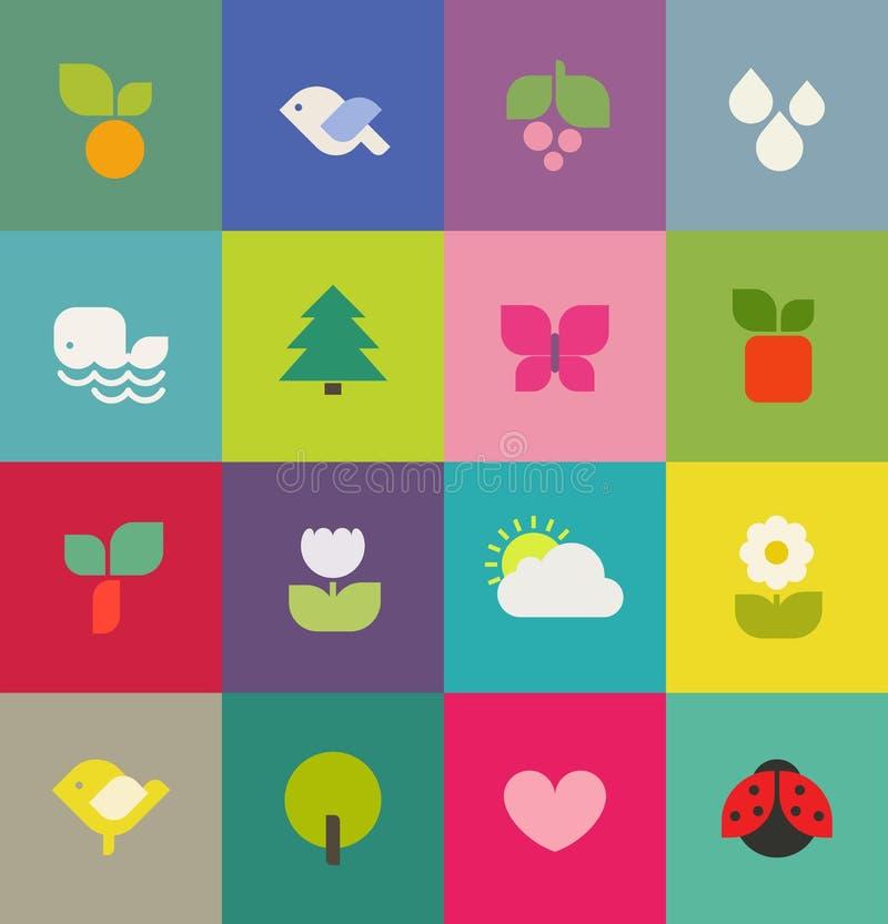Цветастая природа. Установленные иконы. Иллюстрация вектора бесплатная иллюстрация