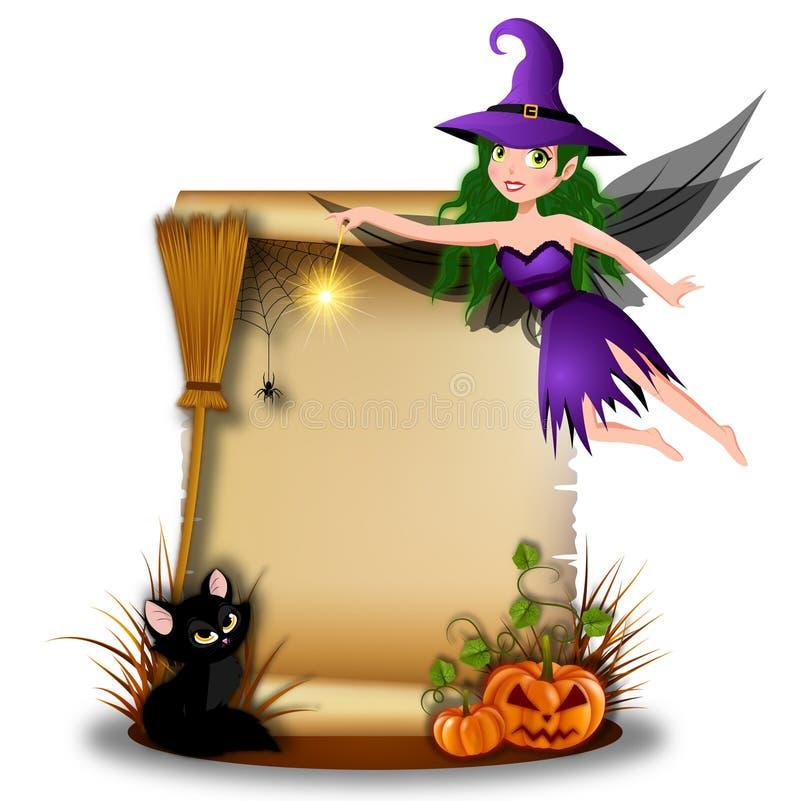Милая fairy ведьма с чистым листом бумаги в сцене хеллоуина иллюстрация вектора