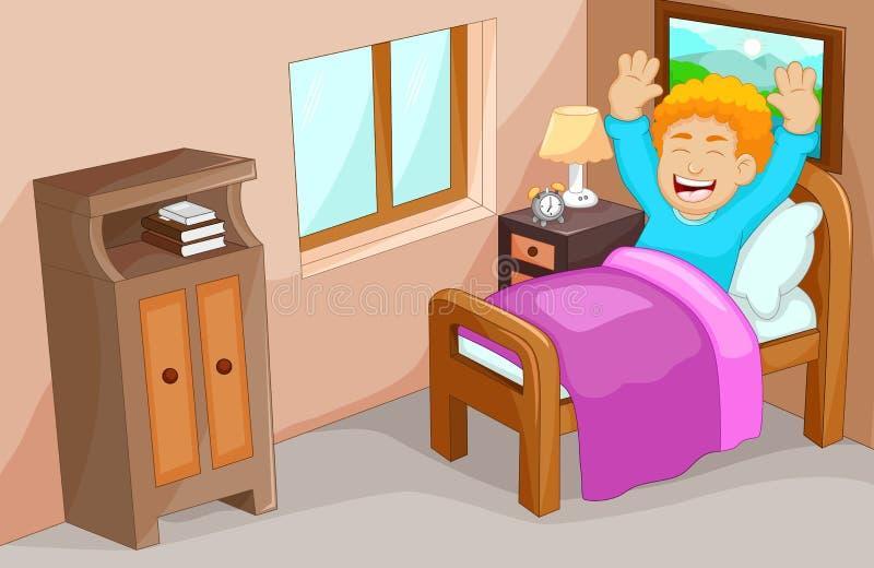 Милое бодрствование шаржа мальчика вверх в спальне иллюстрация вектора