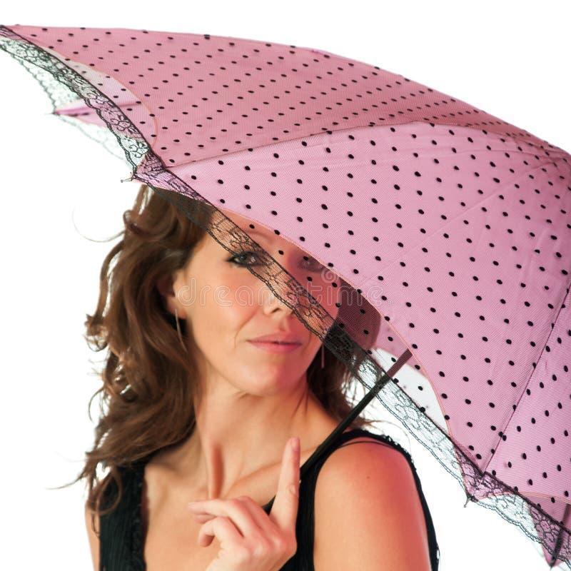Милое брюнет с парасолем стоковые фотографии rf