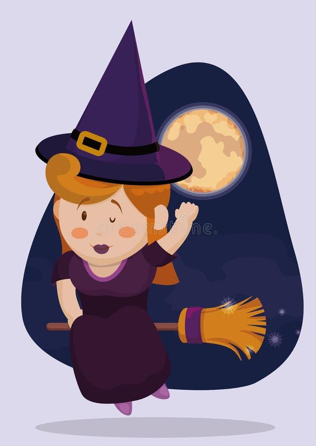 Милое летание в ее венике в ноче, иллюстрация ведьмы вектора иллюстрация штока