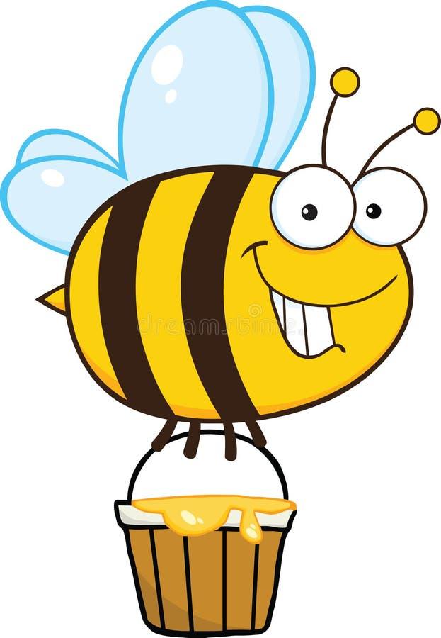 Милое летание пчелы с ведром меда иллюстрация вектора