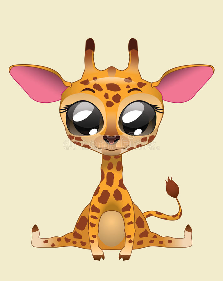 Милое искусство иллюстрации вектора жирафа стоковые фото
