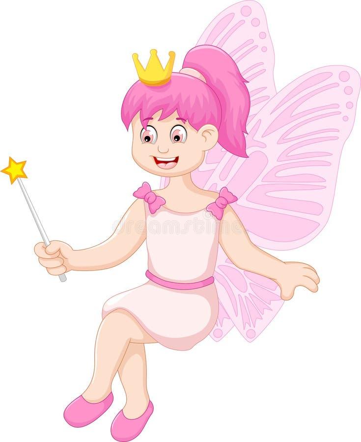 Милое маленькое fairy усаживание шаржа девушки иллюстрация штока