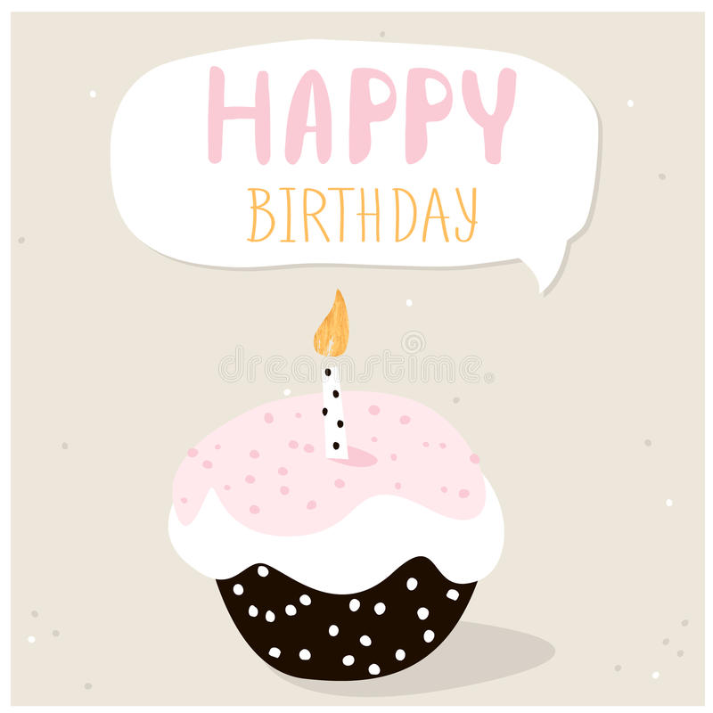 Милое пирожное с желанием с днем рождений шаблон архива eps 8 карточек приветствуя включенный Творческая предпосылка с днем рожде бесплатная иллюстрация