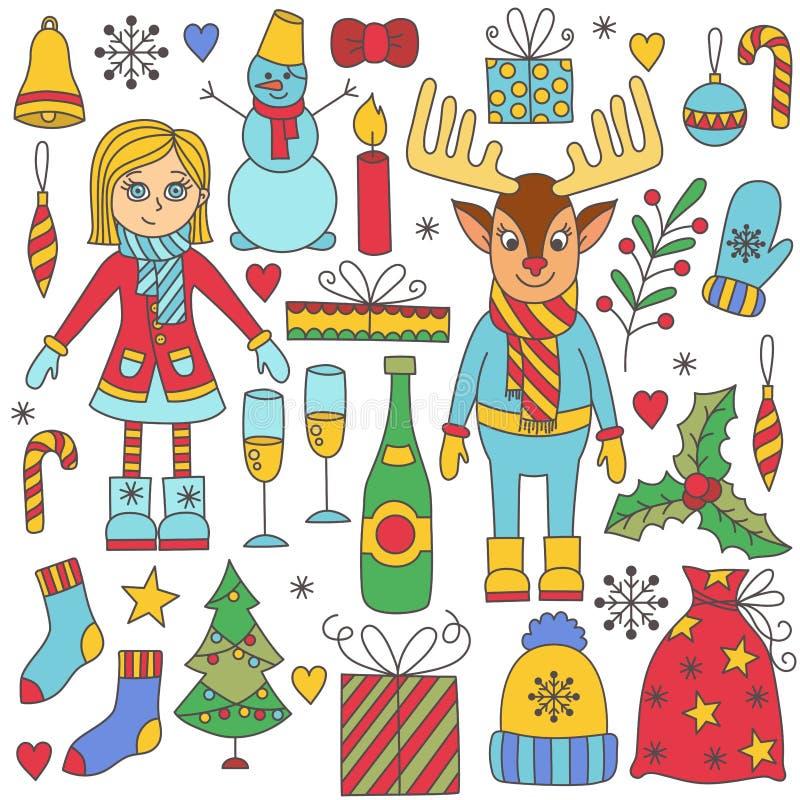 Милое рождество doodles красочный комплект вектора иллюстрация штока