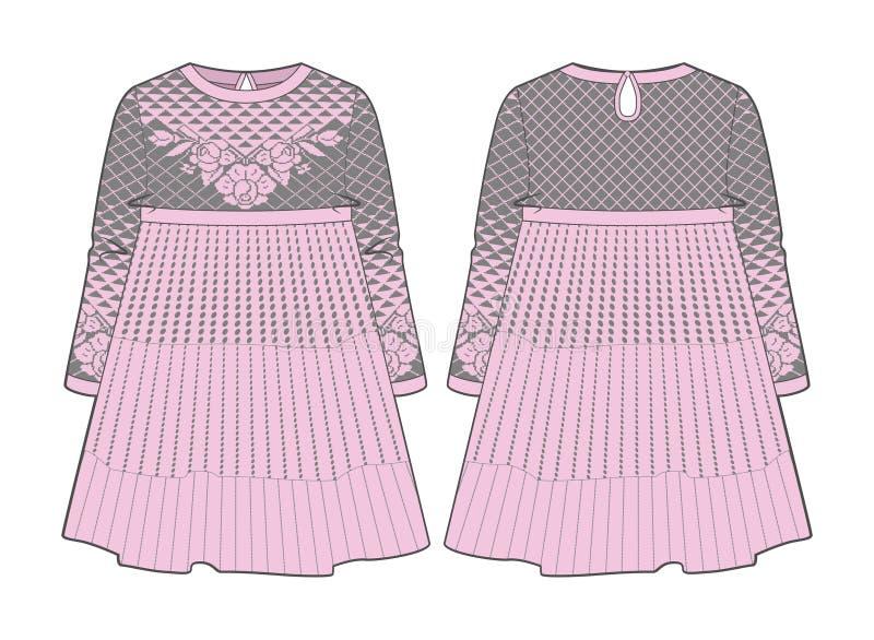 Милое розовое платье с швом на талии и flared юбке иллюстрация вектора