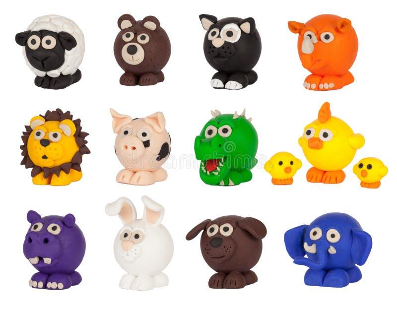 Милое собрание животных пластилина стоковое изображение rf