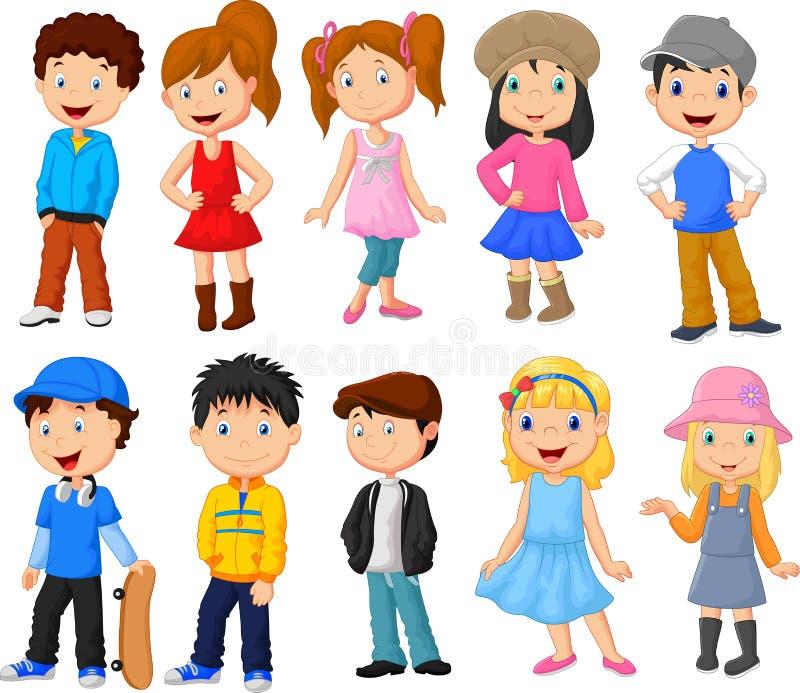 Милое собрание шаржа детей бесплатная иллюстрация