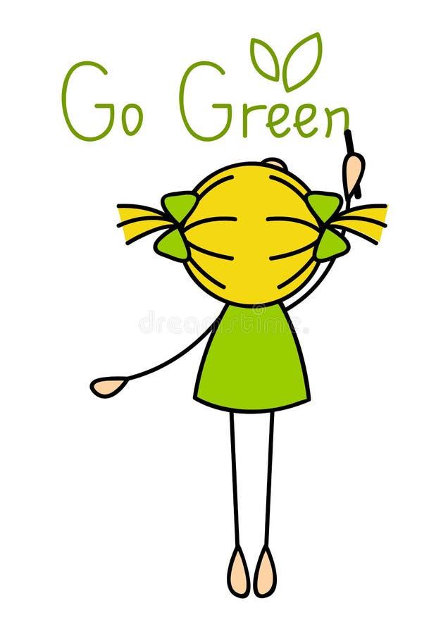 Милое сочинительство маленькой девочки идет зеленый цвет иллюстрация вектора