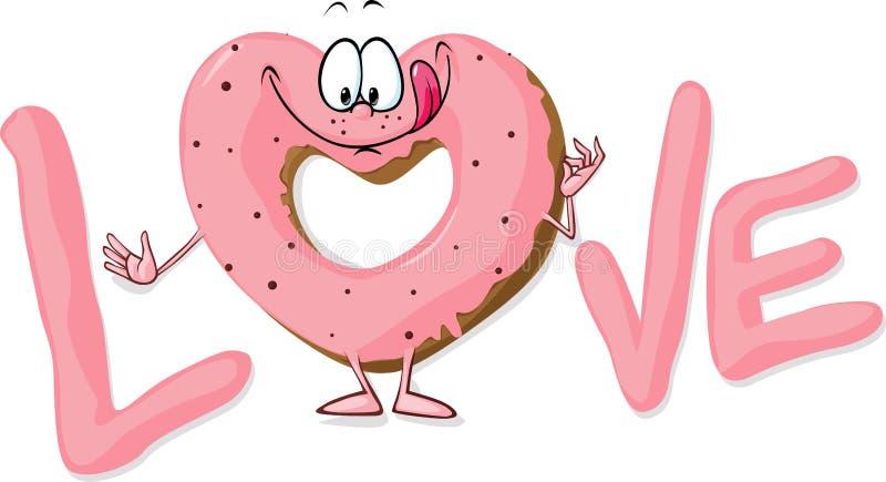 Милое сладостное сердце донута сформировало в влюбленности - vector I иллюстрация вектора