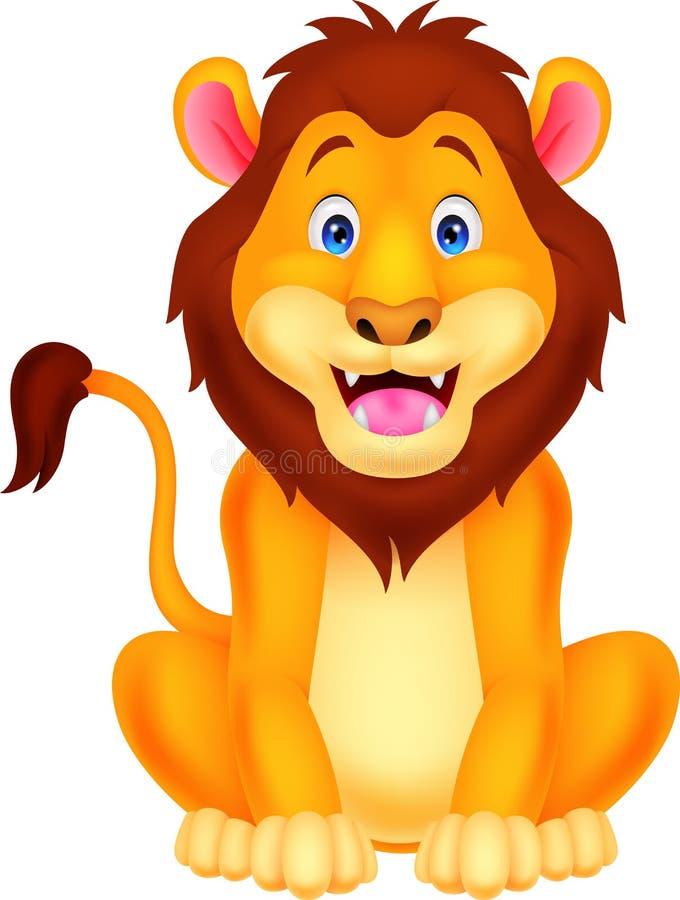 Милое усаживание шаржа льва бесплатная иллюстрация