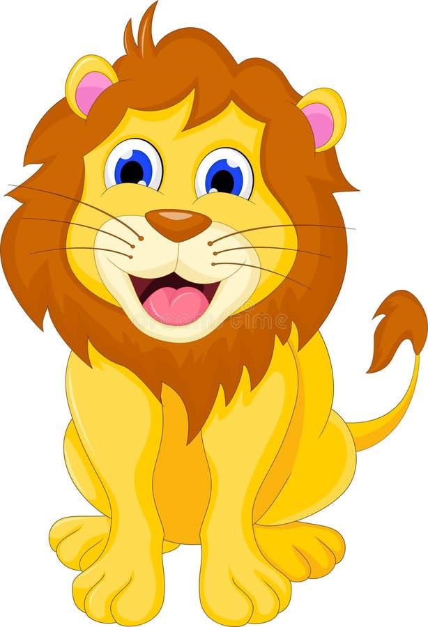 Милое усаживание льва шаржа иллюстрация вектора