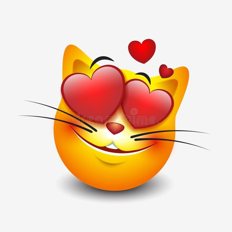 Милое чувство в смайлике кота влюбленности изолированном на белой предпосылке - vector иллюстрация бесплатная иллюстрация