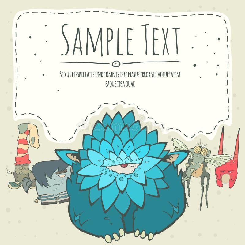 Милое greeteng изверга doodle или карточка приглашения иллюстрация вектора