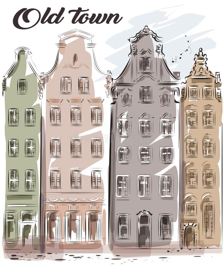 Милой городок нарисованный рукой старый Красивые старые здания вектор изображения города зодчества эскиз иллюстрация вектора