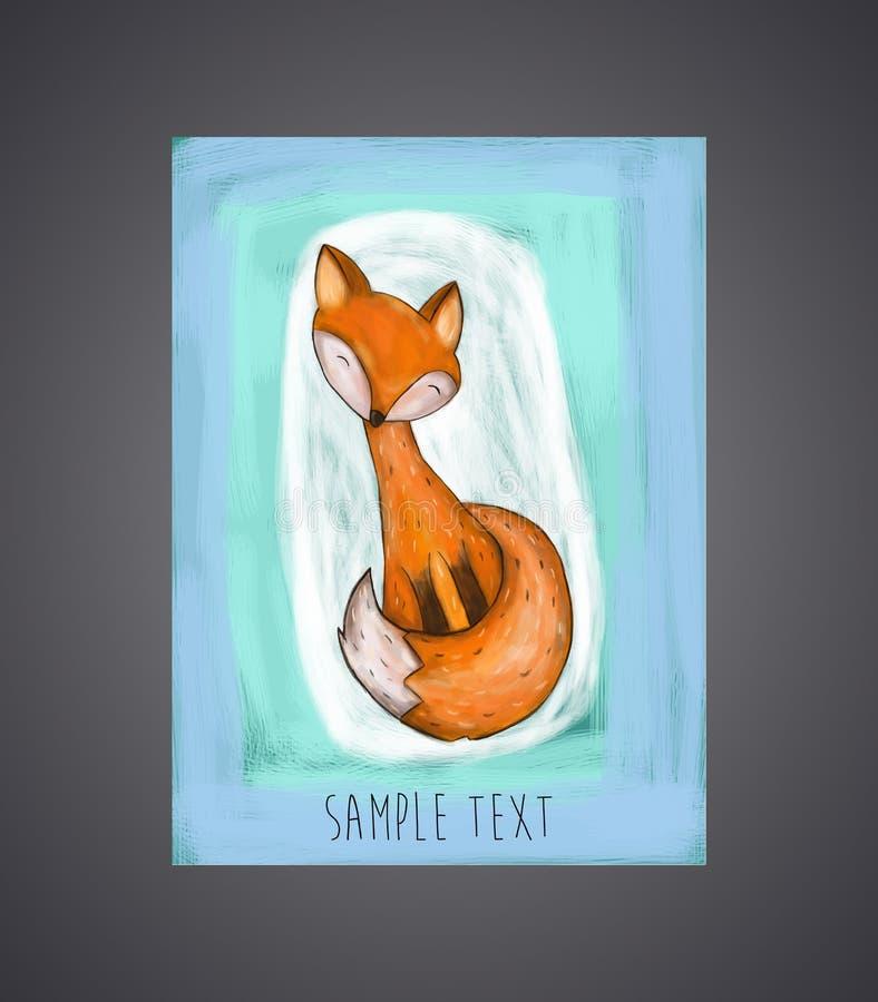 Милой карточка нарисованная рукой, брошюры, с лисой бесплатная иллюстрация