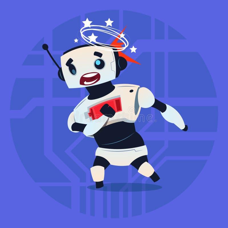 Милой концепция технологии искусственного интеллекта робота чувствующей головокружение сломанная ошибкой современная иллюстрация вектора