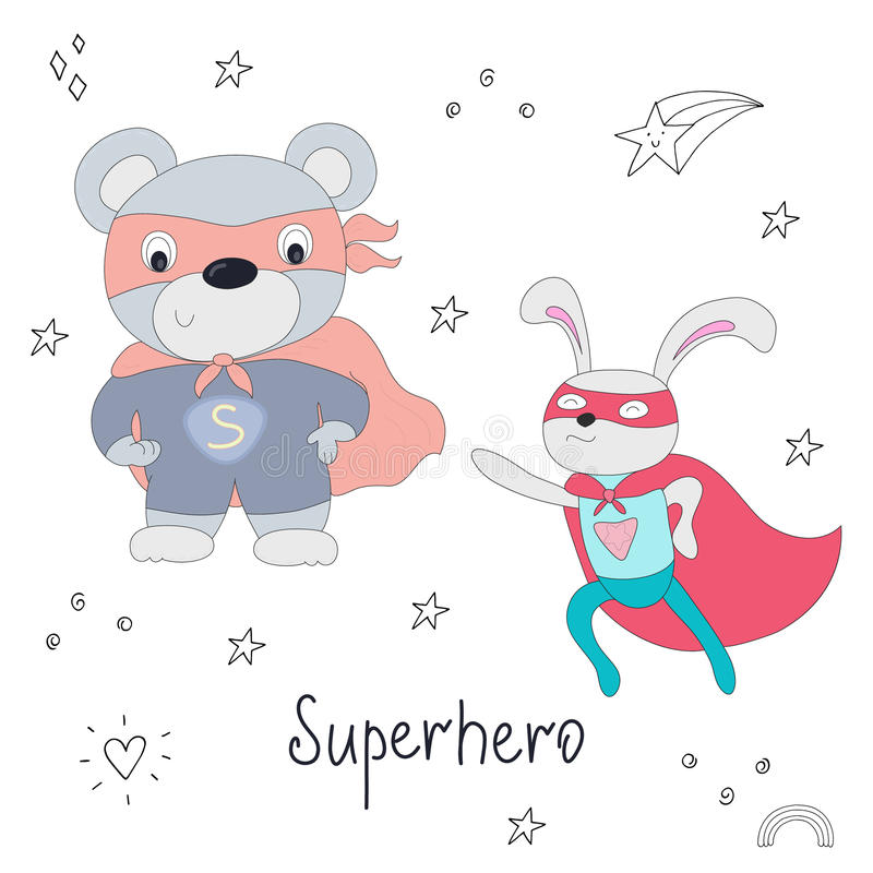 Милой нарисованная рукой иллюстрация вектора плюшевого медвежонка и кролика супергероя животная иллюстрация штока