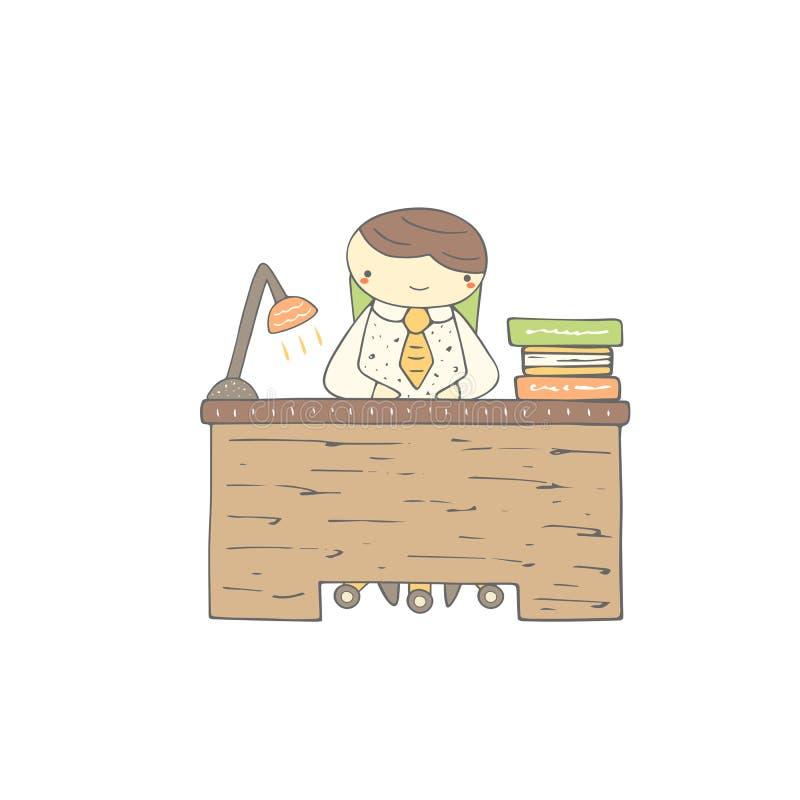 Милой нарисованный рукой работник офиса doodle, студент, зрачок иллюстрация штока