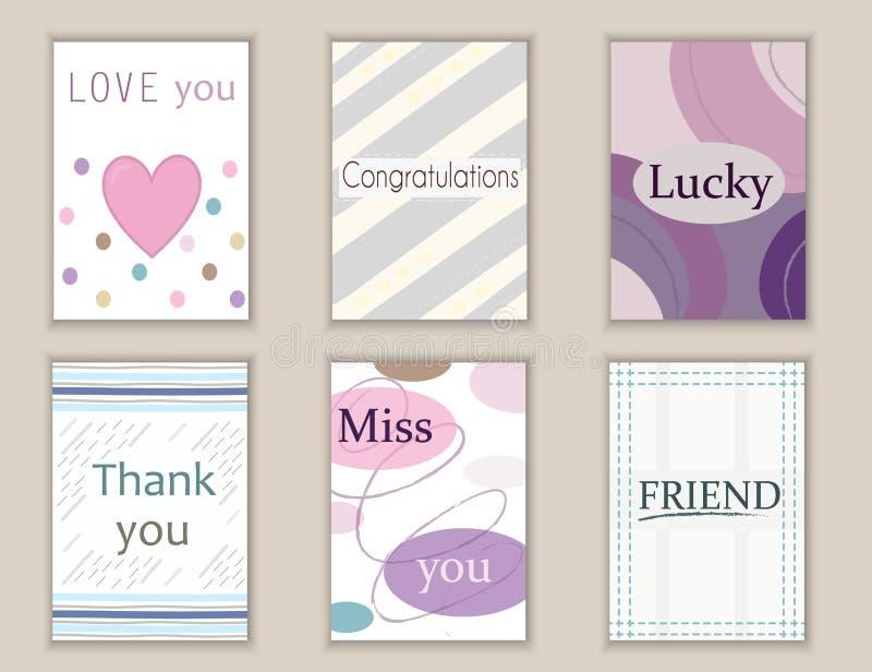 Милой открытки нарисованные рукой doodle, карточки, крышки с различными элементами и цитаты включая спасибо, влюбленность, скучаю иллюстрация штока