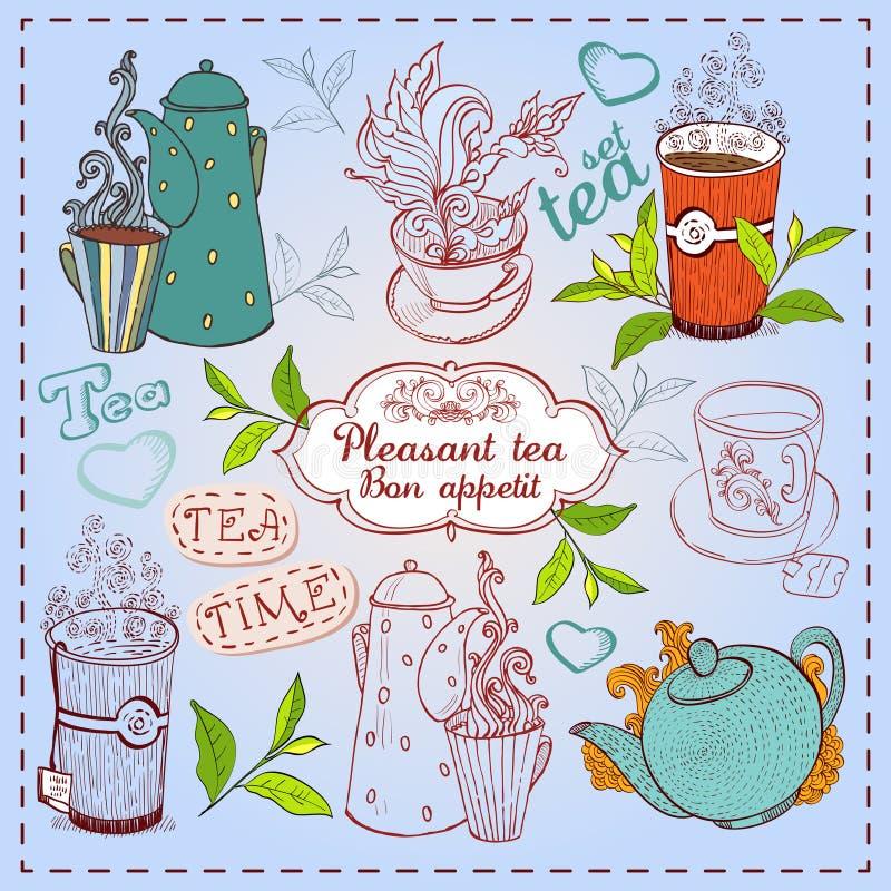 Рисованные чашки и чайники