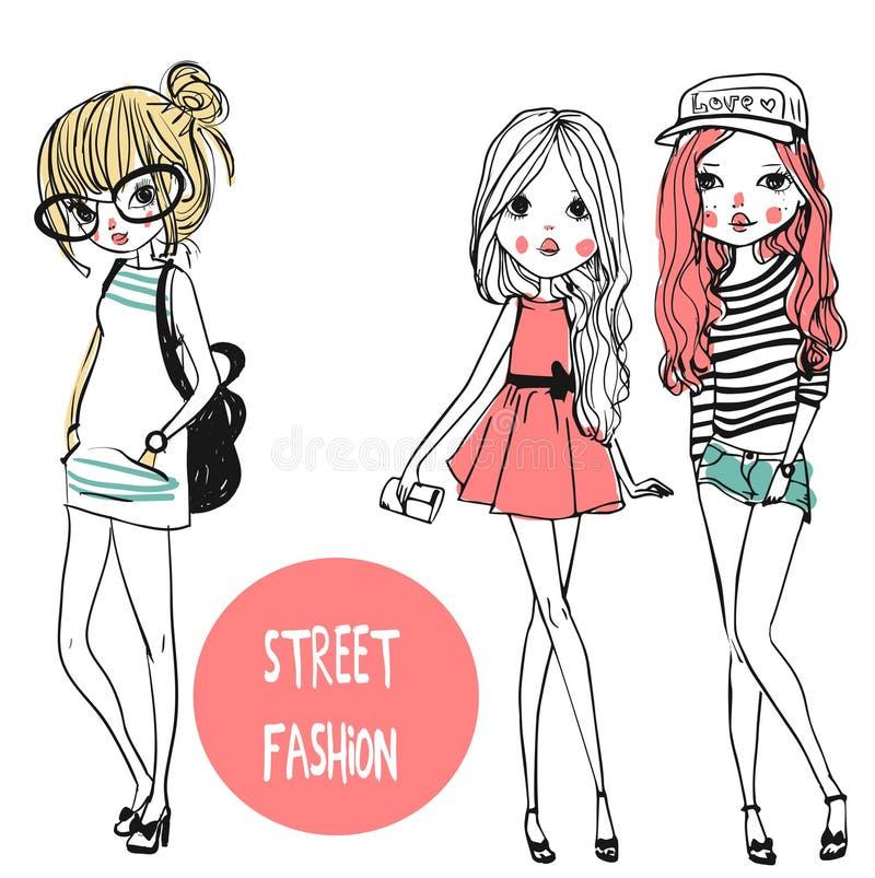 Милые девушки моды иллюстрация штока