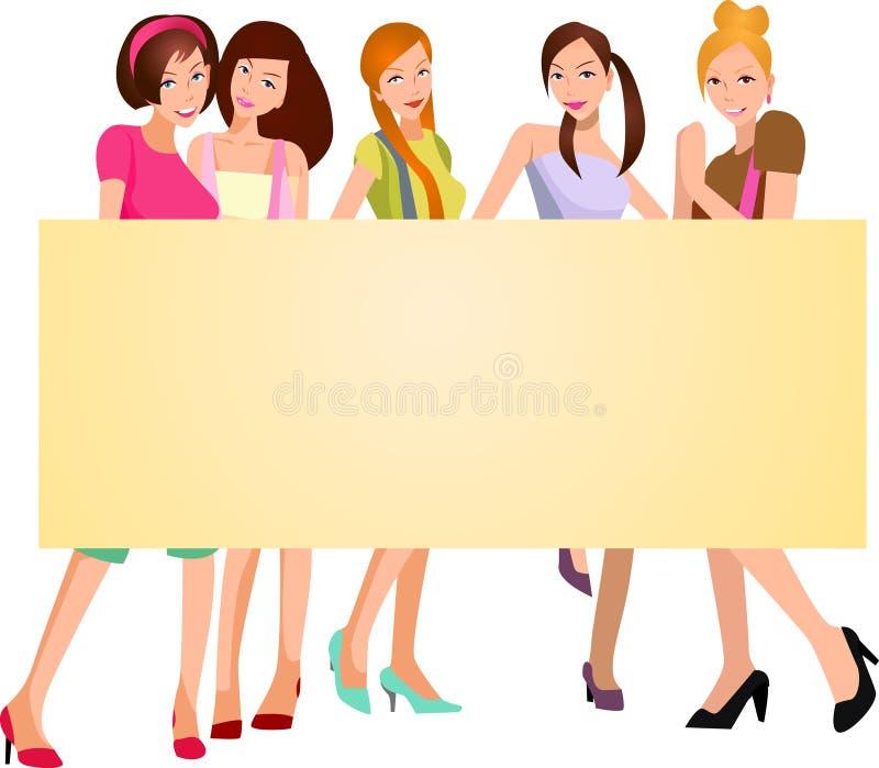 Милые девушки с знаменем иллюстрация штока