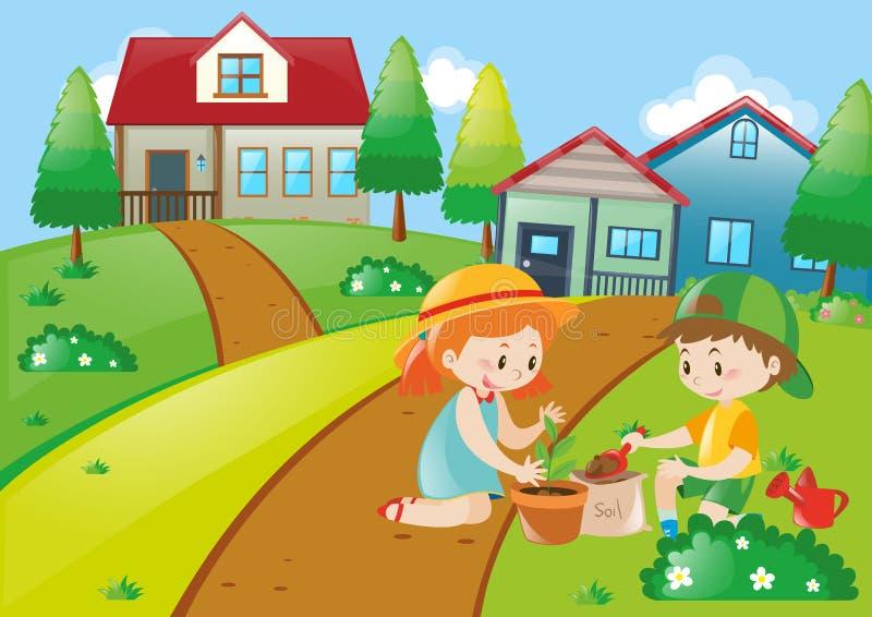 Милые дети засаживая деревья иллюстрация штока