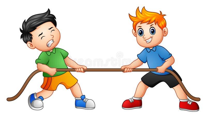 Милые дети играя перетягивание каната иллюстрация вектора