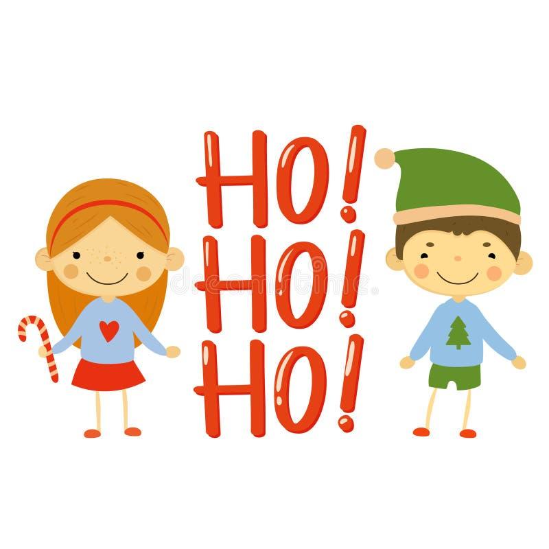 Милые дети и элементы рождества вектор иллюстрация вектора