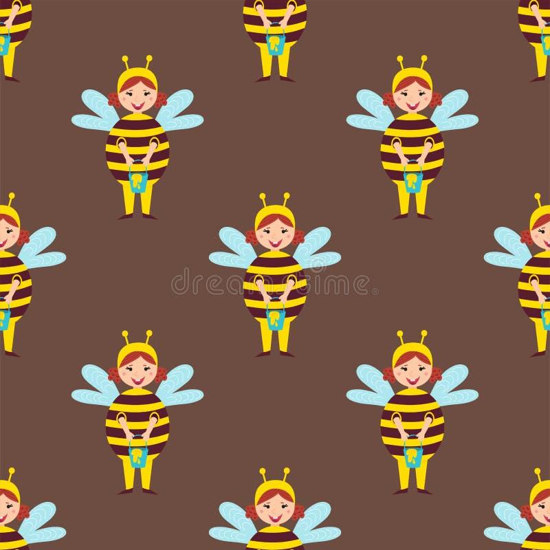 Милые дети пчелы нося костюм vector иллюстрация праздников детей безшовной картины маленьких людей характеров жизнерадостная иллюстрация штока