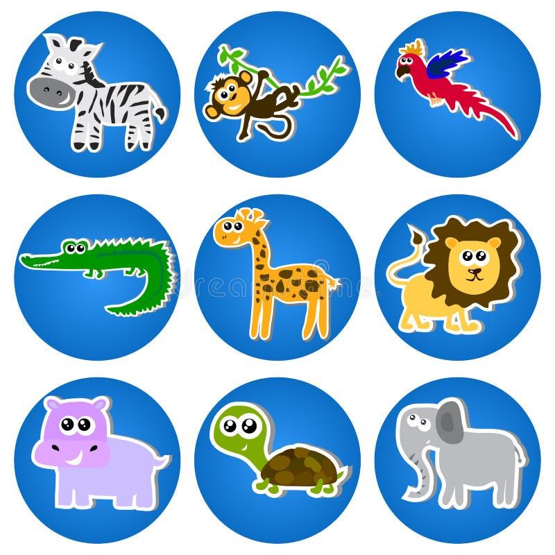 Милые животные в голубых кругах. иллюстрация вектора