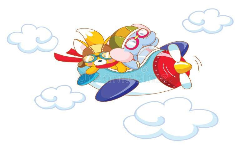 Милые животные шаржа на самолете иллюстрация штока