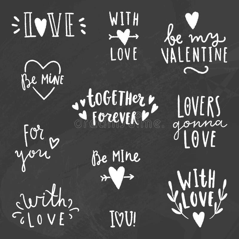 Милые знаки влюбленности Мелок на классн классном иллюстрация штока
