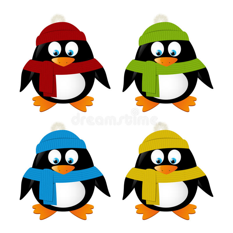 Милые изолированные пингвины шаржа бесплатная иллюстрация