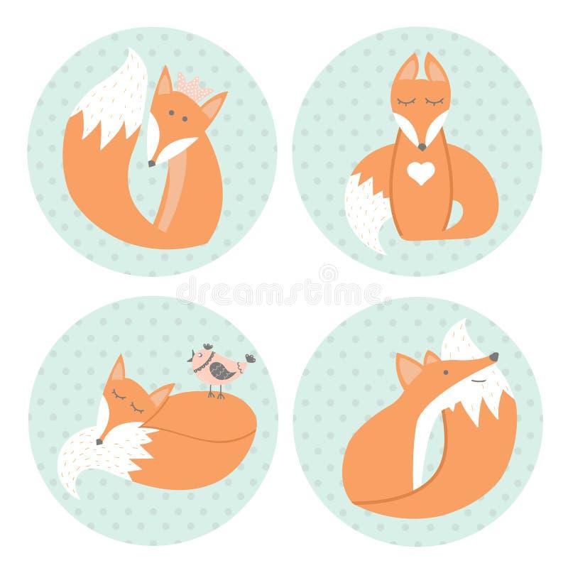 Милые лисы сидя в различных положениях в стиле шаржа иллюстрация штока
